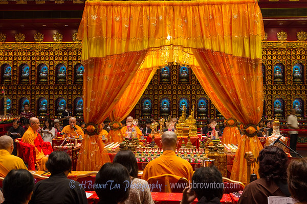 Golden tapestries in the Buddha Tooth Relic Temple