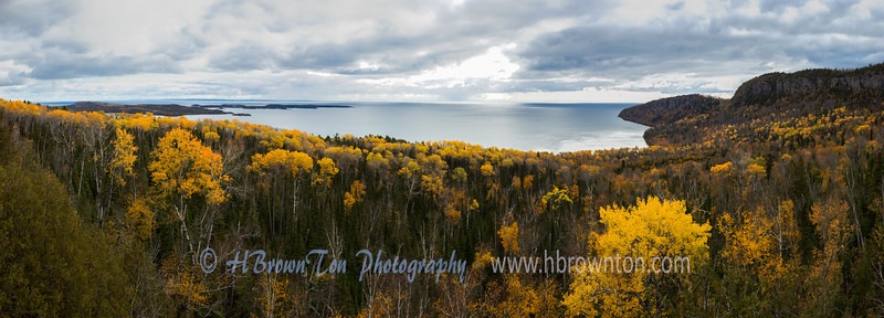 Panoramic view of  Wauswaugoning Bay, Lake Superior