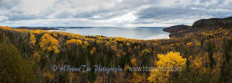 Panoramic view of  Wauswaugoning Bay, Lake Superior