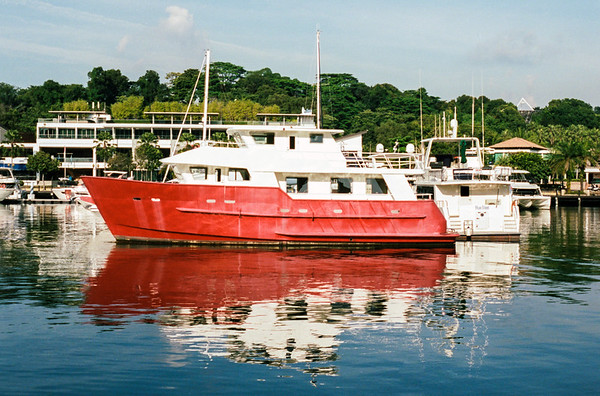 Red boat in the marina