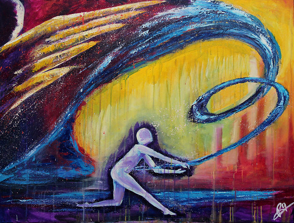 "By My Spirit<br /> 30 x 40<br /> <br /> This painting is a creative depiction of moving forward into the call of God on your life. When you are in a season of waiting it can be tempting to start thinking that God is waiting for you to make something happen and while obedience is of utmost importance, taking matters into your own hands in order to speed up the timeline you are on will never bear good fruit. The fruition of the call of God in your life happens from a place of complete Rest and Surrender, trusting God to be God of every detail, including timing, power and resources. Everything He has called you to do will bear good and lasting fruit only when accomplished by the Spirit of the living God within you. Don't be tempted to fret during the season of waiting. Enjoy waiting on Him. Keep your senses tuned to His presence and His word, letting the cry of your heart be a quick ""Yes and Amen"" to his direction.<br /> The person's posture of active surrender in this painting symbolizes this attitude of waiting on Him in alert readiness. The swirling movement throughout the piece represents the distinct and intentional movement of Holy Spirit as He brings the word of direction to achieve His purposes. The winged figure in the top left is a symbol of Rest; reminding you that it is not by your might or power but by His Spirit that His purposes are accomplished both in and through you."