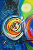 """I Know You<br /> 24""""x 36""""<br /> $380.00<br /> <br /> This painting represents Psalm 139. Nothing about how you were created was a mistake. As you were formed the Father's hand held and spoke life to your form. The Son knew your heart and gave Himself for you. The Spirit placed the fire of love in your mouth and God said, """"I know you completely and I love you complete."""" The baby in the yellow and orange circle represents you as you were being formed in the secret place. The figure holding your hand represents the friendship of Christ. The white glowing circle in the top right corner represents the nearness of Holy Spirit and the hand at the bottom of the circle represents that Father forming and carrying you. You belong to Him and He loves you complete."""