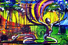 Day & Night<br /> <br /> This painting is an illustration of the praises of God's people lifting their prayers of worship to the Father. We all find ourselves in many different postures of life. Some are easier to endure graciously than others yet we can all come together as one peculiar people and worship our Savior and King. The purple background represents finding ourselves in the throne room, a place of honor and royalty, as we worship. The various colors emanating from the figures illustrate the diverse ways we worship; whether it be a sacrifice of praise or a shout of thanksgiving it pleases the Heart of our Father.
