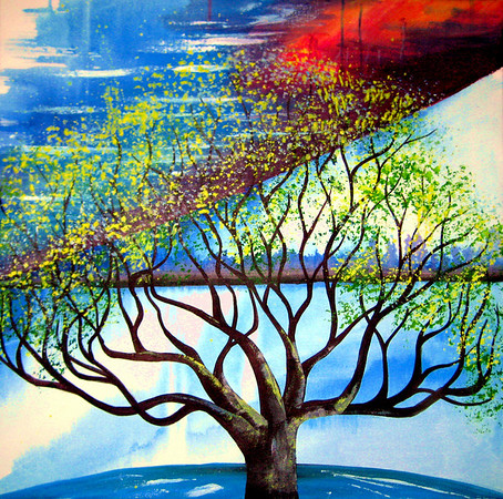 "Tree of Life<br /> 30""x 30""<br /> Tree of Life<br /> <br /> This two piece painting is an illustration of the Tree of Life, referenced in Ezekiel 47:12 as well as Revelation 22:2. This is the tree that stands outside the throne room of God and is always bearing fruit. It is a reminder to God's people that we are to bring healing, sustenance and light to our world. We are all called to grow in relationship and revelation of Him while always being ready to share His Love."
