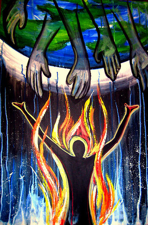 """Fired Up<br /> 24""""x 36""""<br /> Acrylic"""