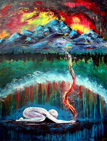 """Authority Alive<br /> 36x48<br /> <br /> This painting is a prophetic picture of moving in authority vs. power. God is asking us to lay down our contrived strategies of how to """"make something happen"""" and wait on Him. The figure represents surrender, patience and trust, while the fire and smoke from his hands represent worship and intercession. The lifted veil in the landscape represents this place of deep intimacy where God himself bestows authority to carry out His strategies even if they seem contrary to the wisdom of this world. The mountains that are set ablaze in the background represents creation groaning and crying out for the true sons and daughters of the Father to be revealed. God has called you to fulfill a role that ONLY you were designed to do. Get quiet and listen for Him. Take the time to pour out your heart and drink Him in. From this place, you will bring heaven to earth."""