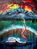 "Authority Alive<br /> 36x48<br /> <br /> This painting is a prophetic picture of moving in authority vs. power. God is asking us to lay down our contrived strategies of how to ""make something happen"" and wait on Him. The figure represents surrender, patience and trust, while the fire and smoke from his hands represent worship and intercession. The lifted veil in the landscape represents this place of deep intimacy where God himself bestows authority to carry out His strategies even if they seem contrary to the wisdom of this world. The mountains that are set ablaze in the background represents creation groaning and crying out for the true sons and daughters of the Father to be revealed. God has called you to fulfill a role that ONLY you were designed to do. Get quiet and listen for Him. Take the time to pour out your heart and drink Him in. From this place, you will bring heaven to earth."