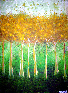 """Gold Walk<br /> <br /> This painting is an illustration of what it looks like to walk in the peace of God. When we grow weary of the fight, we can always retreat to a place of deep peaceful intimacy where we can be restored by the breath of God. The gold in the trees represents the holiness and purity of this place. It is a place where the Spirit of the Living God dwells and is always ready to minister new life. I hear the voice of the Father beckon to His children, """"Remain in me and I will remain in you."""" John 15:4"""