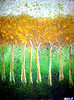 "Gold Walk<br /> <br /> This painting is an illustration of what it looks like to walk in the peace of God. When we grow weary of the fight, we can always retreat to a place of deep peaceful intimacy where we can be restored by the breath of God. The gold in the trees represents the holiness and purity of this place. It is a place where the Spirit of the Living God dwells and is always ready to minister new life. I hear the voice of the Father beckon to His children, ""Remain in me and I will remain in you."" John 15:4"