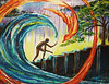 "The Pursued<br /> 28""x 36""<br /> $515.oo<br /> <br /> The main image is the person stumbling up a hill towards the tree that represents life (Christ). The wave is a symbol of ""all the streams flowing as one river,"" the church moving together as one. And the fire bird represents Holy Spirit that is relentlessly pursuing humanity with His love.<br /> <br /> The faltering man represents you, me, the strung out junkie on the corner, the forgotten orphan, the rich and powerful, the desperate and lowly...all of us. Whether we feel weak or strong, rich or poor, steady or unstable it doesn't change the simple fact that every one of us desperately needs the life of God offered to us through His Son, Jesus Christ. Whether we see that as true and respond by asking for His Spirit to bring us life, or we walk around with confusion in our heads and our hearts wondering why it's so hard to understand what this life is about, this fact remains the same. God's story is about His unbelievable love pursuing His created ones because He wants to. Because of His great love, we are His pursuit.<br /> <br /> For those that are not His own yet, feeling tired and lost, aimlessly stumbling seemingly nowhere, His path for them is intentional and deliberate, slowly drawing them closer to His Son, though it may be a difficult road to take. The church (Body of Christ) plays an irreplaceable role in this as well. We partner with God in this act of love. Together, we are the community of love that displays the effects of God's love; a bright light in a dark room. <br /> <br /> To the lost, being pursued might be frightening. To God's children it is the hope of their world and for all of humanity it is the most beautiful story ever heard."