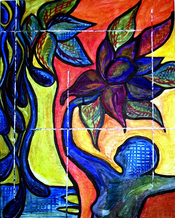 Beauty for Ashes<br /> <br /> This painting is illustrating a person releasing pain and sorrow (the blue water drops on the left hand side of the painting) and receiving beauty and joy in its place (the flowers on the right). Is represents a promise from the Father found in Isaiah 63 for the people of God whose hearts belong to the King of Heaven. Some of God's children have been sold a lie, believing if Jesus is in their life they won't experience any more disappointment, sorrow or pain, when in fact, we are promised hard times and suffering. The greatest hope of the gospel is the promise that even in our darkest hour, amidst betrayal, the grief of loss, confusion or complete brokenness, we are never alone. We have a God who experiences all of the pain that exists in humanity. He knows and has given us His own Spirit to be in us and equip us with all we need to be more than conquerors. This painting is an invitation to release our sorrow and receive His strength and courage. What a promise! What a gift!<br /> <br /> Meditation John 15