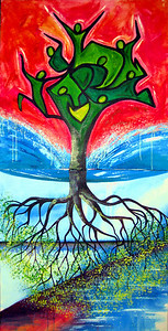 "Tree of Life Complete<br /> 30""x 60""<br /> Tree of Life<br /> <br /> This two piece painting is an illustration of the Tree of Life, referenced in Ezekiel 47:12 as well as Revelation 22:2. This is the tree that stands outside the throne room of God and is always bearing fruit. It is a reminder to God's people that we are to bring healing, sustenance and light to our world. We are all called to grow in relationship and revelation of Him while always being ready to share His Love."