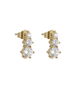 Tripple crystal earring, Gold