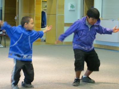 Watching some local boys do a traditional dance at the Inupiat Heritage Center.