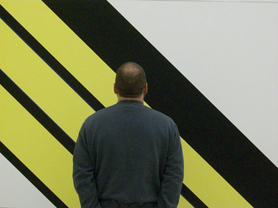 Joe contemplating the meaning of life and the color yellow and straight lines. The Museum of Modern Art in Vienna.