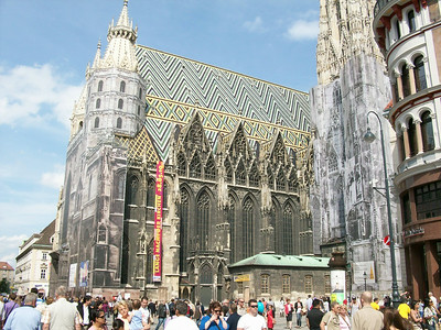 The 13th century Stephansdomkirche, in Vienna, located on Stephansplatz.