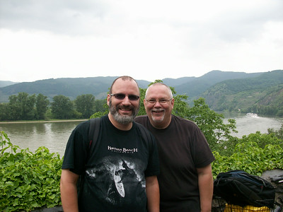 Taking a break from biking; the Danube River is behind us.