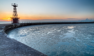 Sunrise on Montrose Harbor
