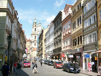 A commercial district in Prague.