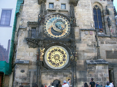 The famous 15th century astronomical clock on the Town Hall building in Old Town Square (Prague).