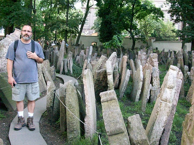 Joe in the Old Jewish Cemetery in the Jewish Quarter of Prague.