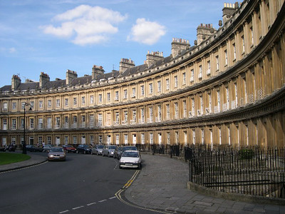 Beautiful Georgian architecture around The Circus in Bath.