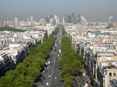 From the top of the Arc de Triomphe, looking west along the Champs-Elysees towards La Defense.