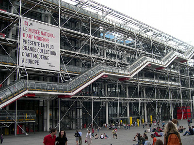 Le Musee National D'Arte Moderne (Museum of Modern Art), also known as The Pompidou Center. What you see is not scaffolding but the actual design of the building.
