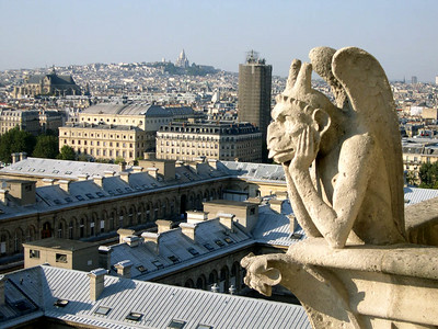 One of the famous gargoyles at Notre Dame.