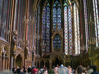 The upper chapel at Sainte-Chappelle. The 15 stained glass windows are more than 50 feet high and depict more than 1,000 scenes from both the Old and New Testament.