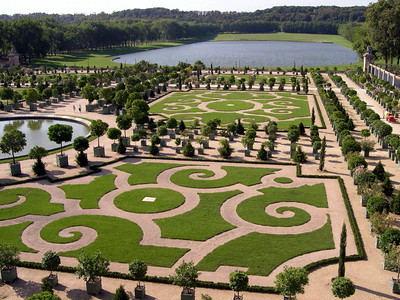 The gardens outside the Palace of Versailles.