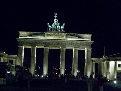 The Brandenburg Gates at night. The monument was built in 1788 and is crowned by Johan Gottfried Shadow's famous sculpture, Quadriga. The Brandenburg Gates are considered to be the symbol of Berlin.
