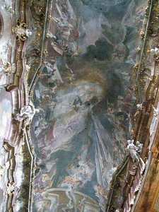 Ceiling frescoes in Asamkirche in Munich.