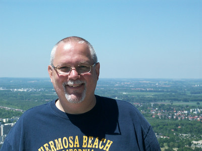 Ed on top of the 950 foot high Olympiaturm (tower) in Olympiapark.