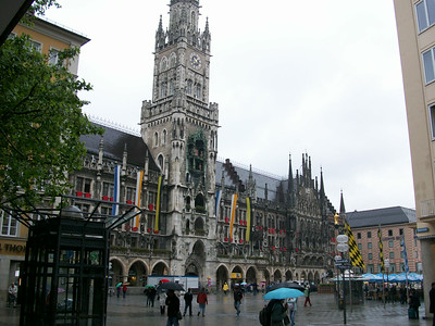"The neo-gothic Neues Rathaus (Town Hall) in Marienplatz in Munich. The main 260 foot clock tower is known as Glockenspiele and features twice daily ""performances"" by mechanical knights in armor."
