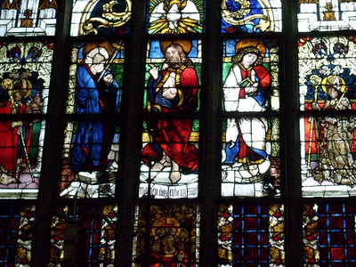 Stained glass windows inside Frauenkirche in Munich.