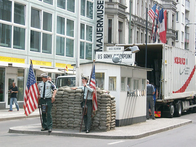 The infamous Checkpoint Charlie, the only place where you could legally cross over from East Berlin to West Berlin from 1960 to 1990.