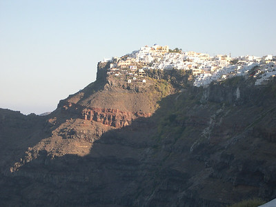 Firastephanie on the island of Santorini is perched approximately 900 feet above the ocean on the edge of the volcano.