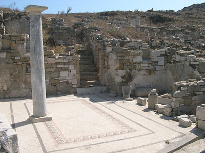 The ruins of a large house on the island of Delos, including a very intricate and well-preseved mosaic tile floor.