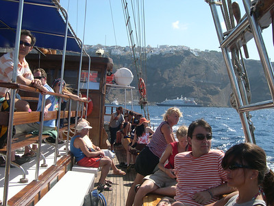 We took a boat from the port in Santorini out to the island of Nea Kameni, the active volcano that rose up inside the caldera about 500 years ago. Once there, we were free to explore the island on our own.