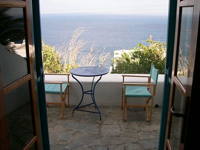 The view from our room at the Hotel Aegean in Mykonos. We had a private balcony with a small table and chairs, overlooking the Aegean Sea. Heaven!