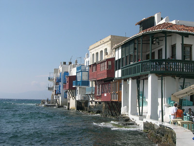 The Little Venice section of Mykonos Town.