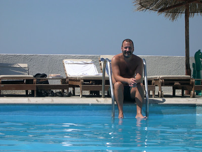 Poolside on an absolutely beautiful day (does it ever rain here?) at the Hotel Aegean in Mykonos.