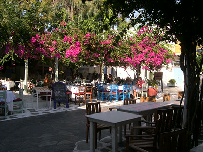 An outdoor restaurant in Mykonos Town.