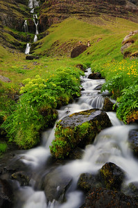 A small waterfall in Northwest Iceland.