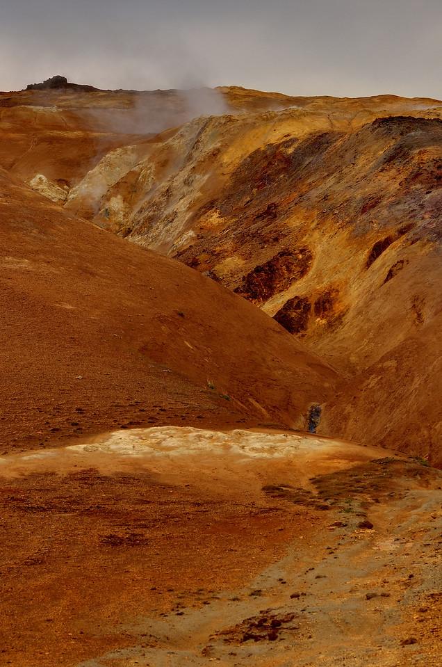 A volcanic hillside near Myvatn, Iceland.