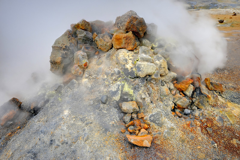 Volcanic steam vent near Myvatn, Iceland.