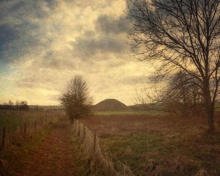 Silbury Hill from the River Kennet, Near Avebury, WIltshire, UK