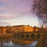 """Town Bridge at Sunset, river, bridge, """