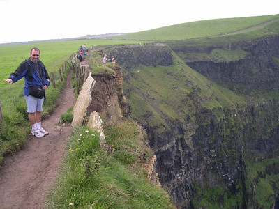 A narrow path, at times ridiculously close to the edge, winds its way along the Cliffs of Moher from the visitor's center to Hag's Head.